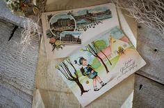 ドイツのポストカード2枚 検アンティークはがき切手au 271 Antique postcard ¥1200円 〆03月20日