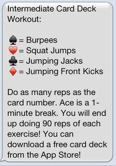 Card Deck Workout - We play this in the Sunrise Circuit class I teach. My members love it! (we use different moves tho)