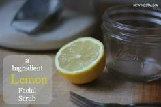 I make this simple homemade 2 ingredient lemon facial scrub about once a week.  It is so easy to throw together, and it leaves my skin very soft, smooth, & exfoliated. Start by juicing a half of a lemon.  I like to use the lemons in my refrigerator that are on the verge of being too ripe to eat.  This is a great way to use those lemons up! Don't underestimate the power of a simple fork!  I have several fancy lemon squeezing gadgets, but when I am just doing a lemon half, I just grab a fork…