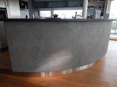 Microcement applied to a kitchen bar.  Mikrosement påført bar løsning på kjøkken.