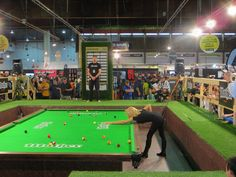 """Ewa """"""""The Striking Viking"""" Mataya Lawrence playing pool on a 9' x 18' table in Auckland, New Zealand"""