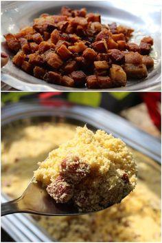 Farofa de Bacon, é uma farofa mista de milho com mandioca mais bacon e linguiça…