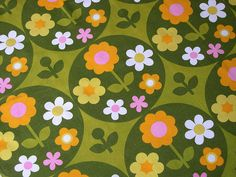 1960s.  Similar palette and design to those Bec and I had in our rooms-with shag carpets and neon painted furniture!