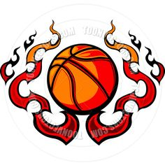 Free Printable Basketball Clip Art | Basketball Template with Flames Vector Image