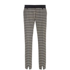 Bally Checkered Wool Slit Ankle Pant ($675) ❤ liked on Polyvore featuring pants, capris, cigarette pants, ankle length jeans, ankle zip pants, ankle jeans and wool trousers