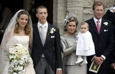 Newly married Princess Tessy and Prince Louis with his parents, the Grand Duke and Grand Duchess of Luxembourg, and their son Gabriel.
