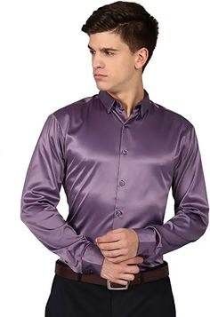 Satin Shirt, Office Looks, Button Down Collar, Suit And Tie, Sport Coat, Satin Fabric, Casual Shirts, Shirt Dress, Rust