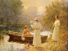 """Afternoon at the Pond"" - Abbott Fuller Graves - (American, 1859 - 1936)"