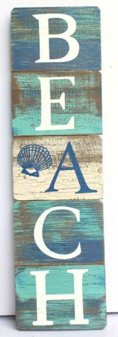 Our vertical beach sign features peaceful coastal blue and green colors and is crafted from wood. Measures 23 x 6 when hanging - hinge folds to (Diy Wood Signs) Beach Theme Bathroom, Beach Room, Beach Bathrooms, Beach Art, Bathroom Signs, Seaside Bathroom, Bathroom Art, Summer Deco, Deco Marine