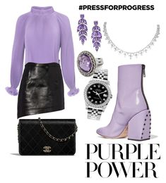 """Untitled #366"" by mirun on Polyvore featuring Helmut Lang, TIBI, Petar Petrov, Rolex, purplepower, internationalwomensday and pressforprogress"
