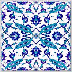 "Seljuk/Iznik Blue & White Tulip Floral 15,7""x 15,7"" (40cm x 40cm)  Turkish Ceramic Tiles Kitchen/ bathroom Turkish tile"