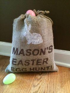 Easter Egg Hunt Burlap Bag with bunny,  Personalized jute bag for easter