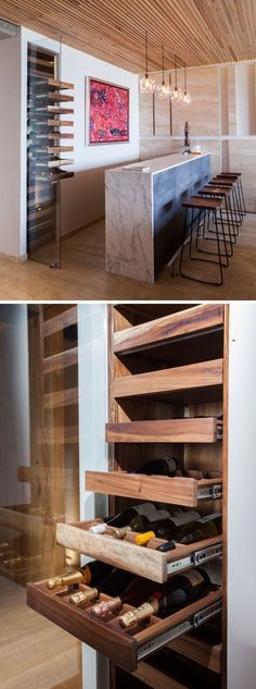 Elegant Apartment With A Wood Slat Ceiling In this modern apartment, there's a bar area with seating and a built-in wine fridge.In this modern apartment, there's a bar area with seating and a built-in wine fridge. Contemporary Apartment, Contemporary Kitchen Design, Contemporary Bedroom, Modern Interior Design, Kitchen Modern, Modern Contemporary, Modern Apartment Design, Modern Apartments, Contemporary Building