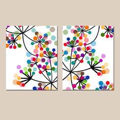 Dúo flores botánico abstracto moderno  juego de impresiones