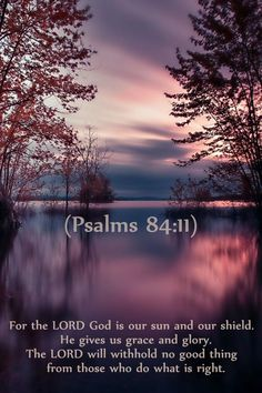 For the Lord God is our sun and our shield. He gives us grace and glory. The Lord will withhold no good thing from those who do what is right.  Psalms 84:11