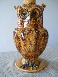 Very Rare Studio Pottery Slipware Owl Lamp Signed Roger Ross Turner Owl Lamp, Sgraffito, Old English, Pottery, Studio, Antiques, Vintage, Decor, Art