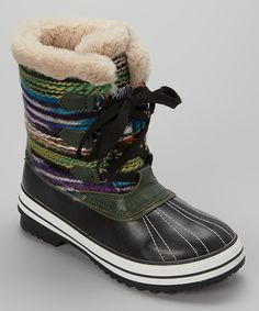Look at this Transco Green Lace-Up Snow Boot on #zulily today!