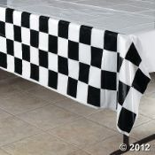 Checkered Plastic Tablecloth on Oriental Trading
