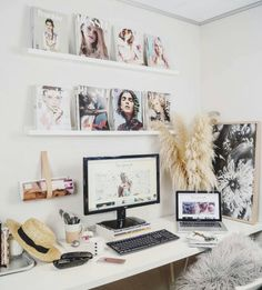 And this desk, with lots of photos and knickknacks for inspiration. | 17 Desks That Will Make You Want To Actually Get To Work