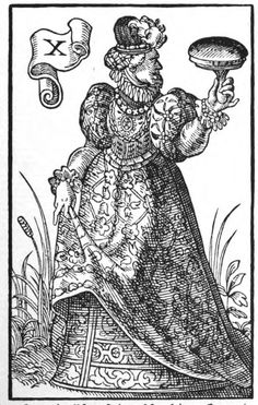 Ten of Ink Stamps from the Books and Beer Deck: S. L. MacGregor Mathers's Divinatory Meanings: Upright:  Confidence, Security, Honor, Good Faith Reversed:  Treachery, Subterfuge, Duplicity, Bar.Source: Books & Beer tarot cards by Jost Amman. Germany, 1588./Queen of Tarot