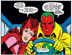MARVEL PANEL OF THE DAY    From: Vision & The Scarlet Witch (1985) #1 (Reprinted in Avengers: West Coast Avengers - Family Ties)    Who knew the Vision could drive a car?