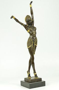SIGNED EGYPTIAN DANCER CHIPARUS BRONZE SCULPURE STATUE ART DECO HOME FIGURINE