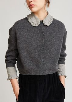 Morganite Woman Cardigan, Charcoal, winter, autumn style, collar, frill, wool, texture