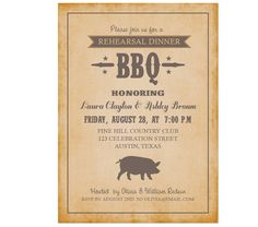 Rehearsal Dinner BBQ Party Invitation by AffordablePaperPress