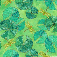 Shimmer Koi Pond - Lily Pads & Dragonflies - Jade/Gold - Quilt Fabrics from www.eQuilter.com