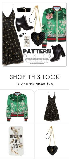 """Mix & Match"" by vickykirkpatrick ❤ liked on Polyvore featuring Gucci, Valentino, Pierre Hardy, H&M, Moschino, Yves Saint Laurent, fashionset, polyvorecontest, patternmixing and polyvorefashion"