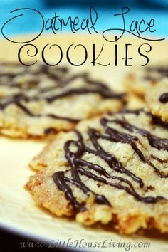 Oatmeal Lace Cookies Recipe. Perfectly crispy and crunchy with just the right amount of chocolate!