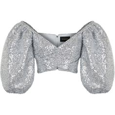 This **Rasario** Silver Sequin Cropped Blouse features an off the shoulder balloon sleeve, a v neck, and a cropped length. Cl Fashion, Kpop Fashion Outfits, Stage Outfits, Korean Outfits, Look Fashion, Fashion Design, Mode Kpop, Crop Top Designs, Fiesta Outfit