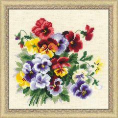 RIOLIS CROSS STITCH KIT Pansy Medley Flowers Craft Embroidery Needlework #Riolis #CROSSSTITCH