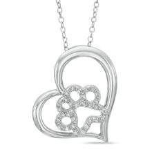 ASPCA®+Tender+Voices™+1/6+CT.+T.W.+Diamond+Paw+in+Tilted+Heart+Pendant+in+Sterling+Silver