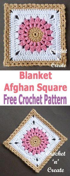 Crochet blanket afghan square, use for lapghans, afghans, throws etc. #crochetncreate #crochetafghans #crochetgrannysquare