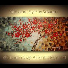 ORIGINAL Abstract Art Landscape Painting Red Tree Cherry Blossom Art Bonsai Modern Art Palette Knife Oil Painting Wall Decor by Susanna