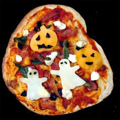 Easy Halloween Pizza Recipe | from Within the Kitchen | So easy to decorate your favorite pizza with spook-tacular, kid-pleasing Halloween shapes! How fun!