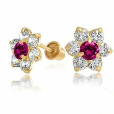 Bling Jewelry Kids Ruby Color Safety Screw Back CZ Flower Stud Earrings 14k Gold Bling Jewelry. $84.99. Screw back. Stud earrings. Childrens birthstone flower stud earrings. Cubic Zirconia. 14 Karat yellow gold. Save 36%!