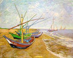 vincent van gogh sailboats | Vincent van Gogh - Vincent van Gogh Fishing Boats on the Beach ...