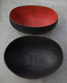 ♂ Organic art sculpture ceramic Two bowl by Steven Heinemann