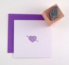 Mini Crochet Heart Rubber Stamp by cupcaketree on Etsy