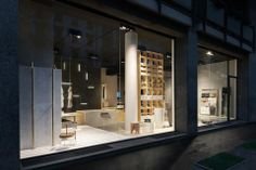 NEUTRA Flagship Store in milan - water_wellness_stone. #bathroom #spa #design #night #showcase