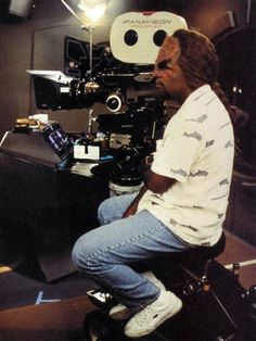 Michael Dorn directs on the set of Deep Space Nine