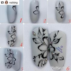 Excellent simple ideas for your inspiration Tulip Nails, Flower Nails, Nail Art Modele, Swirl Nail Art, Nail Drawing, Butterfly Nail Art, Nail Techniques, Nagel Hacks, Painted Nail Art
