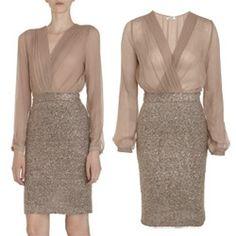 Long sleeve combo dress... beautiful! #L'Agence