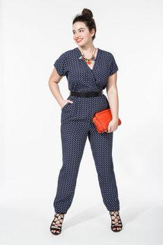 Navy with a pop of orange! Wrap Front Jumpsuit | Women's Plus Size Jumpsuits | ELOQUII