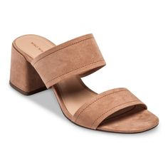 Women's Who What Wear Carolina Double Band Block Heel Slide Sandals - Tan 9.5