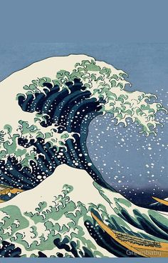 The Great Wave by Katsushika Hokusai iphone 6 case painting ideas aesthetic waves 'The Great Wave by Katsushika Hokusai' iPhone Case by Greenbaby Japanese Waves, Japanese Art, Japan Design, Wave Drawing, Giant Waves, Beach Illustration, Waves Wallpaper, Banksy Graffiti, Katsushika Hokusai