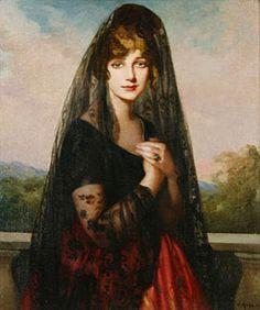 Retrato con mantilla. Victor Moya Calvo (Valencia 1890-Barcelona 1972)