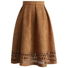 Chicwish Geo Cutout Suede Pleated Midi Skirt in Tan (120 BRL) ❤ liked on Polyvore featuring skirts, bottoms, saias, faldas, brown, suede midi skirt, suede skirt, tan midi skirt, brown suede skirt and knee length a line skirt